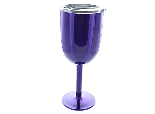 9 oz Purple Color Stainless Steel Wine Glass. Keeps Drinks Hot or Cold for Hours. by TN001