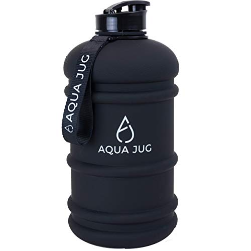 Aqua Jug Big Water Bottle, Dishwasher Safe BPA Free Drinking Water, Dark Knight Black 2.2L, Great for Gym Fitness Workout Sports Hiking and More