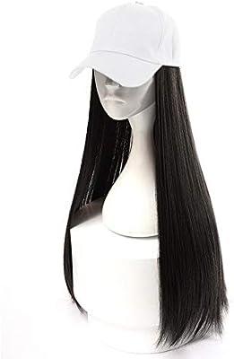 HOOLAZA Gorra de béisbol blanca para mujer con pelucas rectas largas de color negro parduzco Sombrero de gorra de peluca recta larga 2 en 1 24 pulgadas: Amazon.es: Belleza