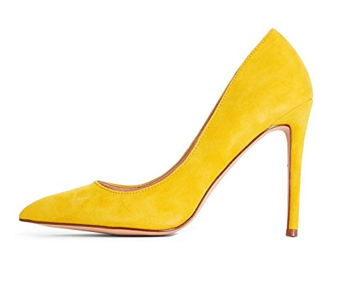 - Sammitop Women's Pointed Toe Suede Pumps Classic Slip On Elegant Lady Shoes Yellow US6.5