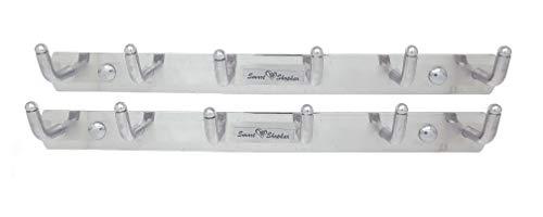 Smart Shophar Pack of 2 Stainless Steel L Type Wall Hook 6 Legs Silver