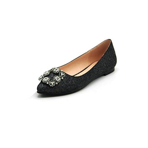 XIE Femmes hauts talons Shallow Mouth un mot boucle romaine confortable chaussures femmes carré tête rugueuse avec des chaussures simples noir rouge black 8lNqM