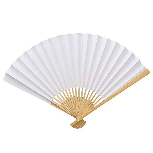 Wal front 2pcs White Paper Fan Wood Handle Folding Calligraphy Painting Drawing Fans DIY Decoration ()