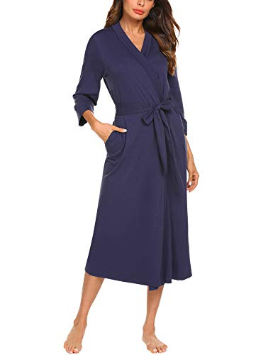 MAXMODA Women Long Kimono Bathrobe Lounge Spa Bath Robes Hotel Long Sleepwear Loungewear(Purple,XXL)