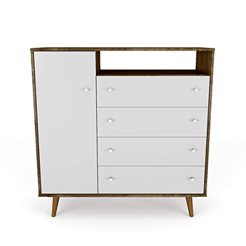 Mid Century Modern Sideboard Dresser Chest with 4 Drawers 4 Shelves 1 Door and Solid Wood Splayed Legs - Includes Modhaus Living Pen (Rustic Brown and White)