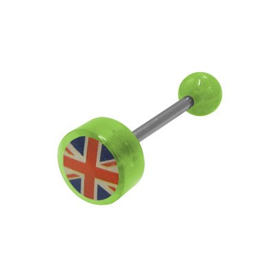 (BodyJewelryOnline British Flag Logo Barbell Tongue Ring - Green Acrylic Beads)