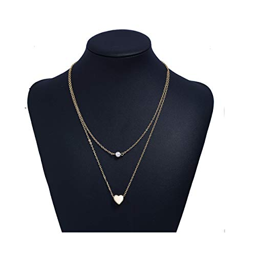 (MOCANALA Gold Layered Necklace, Delicate Love Heart Pendant Freshwater White Mini Pearl Bar Necklace Dainty Layer Chain Charm Necklaces for Women (Heart)