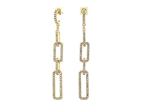 Vince Camuto Women's Pave Link Post Linear Earrings Gold/Crystal One - Pave Link Earrings