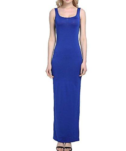 Coolred-femmes Jarretelle Gilet Sans Manches Col Rond Bleu Couleur Pure Confortable Robe Longue Plage Maxi