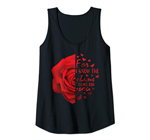 Womens Jeremiah 29:11 Christian Bible Verse Red Rose Faith Hope  Tank Top (Bible Verses About Overcoming Obstacles In Life)
