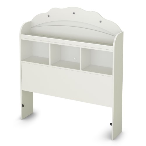 Tiara Collection Twin Bookcase Headboard - Pure White - Bedroom Furniture by South Shore - Princess Collection White Finish Chest