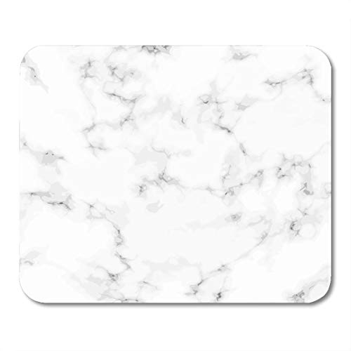 "Price comparison product image Boszina Mouse Pads White Beautiful Realistic Abstract Marble Stone Plate Graphic Antique Flooring Closeup Black Ceramic Mouse Pad for notebooks,Desktop Computers mats 9.5"" x 7.9"" Office Supplies"