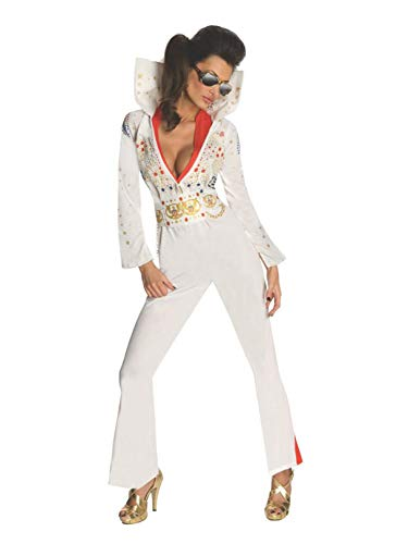 Secret Wishes Womens Elvis Jumpsuit Costume, White, Large