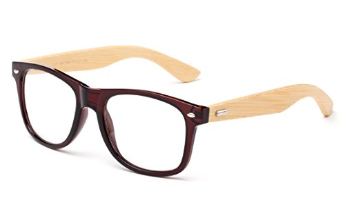 Newbee Fashion - Real Bamboo Temples Clear Frames Glasses Men Women Wooden - Ray Bans Bamboo