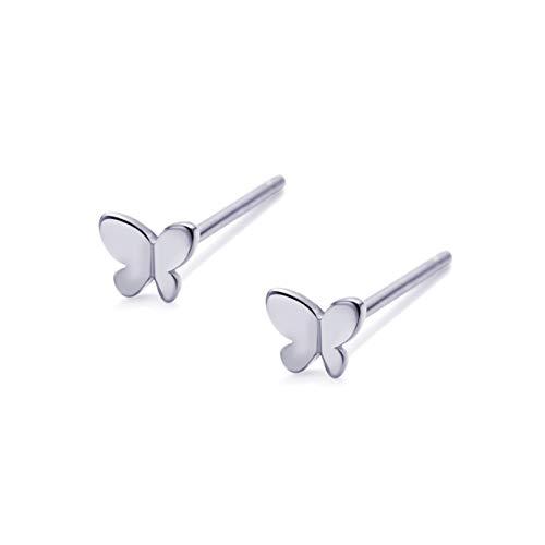 S.Leaf Tiny Sterling Silver Stud Earrings Butterfly Earrings for Women (white gold)
