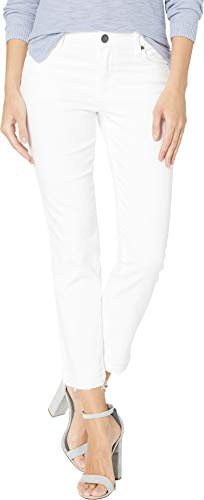 KUT from the Kloth Women's Reese Ankle Straight Leg Jeans w/Release Hem in Optic White Optic White 12 27