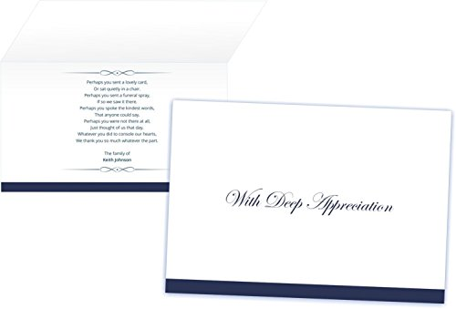 Personalized Funeral Thank You Cards and Envelopes (Set of 50) (Standard)