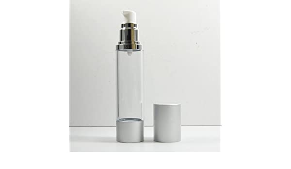2 x cosméticos de botellas de plástico bomba de tratamiento (Airless botella tapa de plata 50 ml: Amazon.es: Hogar