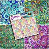 Craftopia's Paisley Pattern Self Adhesive Craft Vinyl Sheets | 4 Assorted Vinyl Pack for Cricut, Silhouette Cameo, Craft Cutters, Printers, Letters, Decals