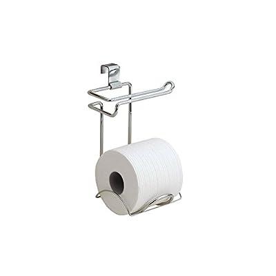 iDesign Classico Steel Paper Holder for Bathroom Storage, Over The Tank Toilet Tissue Organizer, Set of 1, Chrome