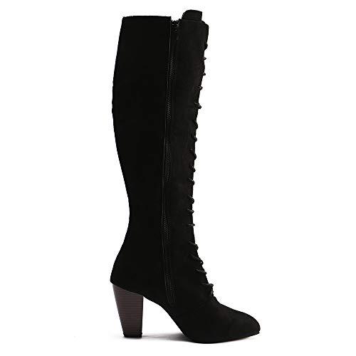 Dames Talons La Sur Mode Martin Noir Kobay Pour Hautes Le Bottes Chaussures clair Fermeture Bretelles Genou RwOIzESxq