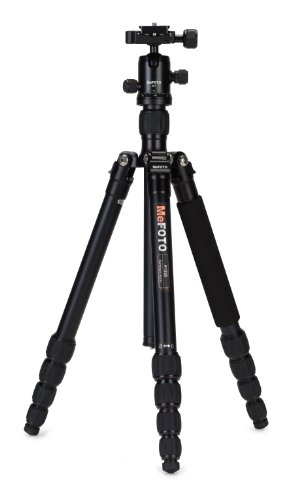 MeFOTO RoadTrip Classic Lightweight 61.6 Aluminum Travel Tripod/Monopod w/Case, Twist Locks, Triple Action Ballhead w/Arca Swiss Plate for Mirrorless/DSLR Sony Nikon Canon Fuji -  Black (A1350Q1K)