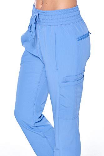 (ANGEL UNIFORMS- Vicky 6-Pocket, Slim-Fit Stretch Scrub Pants with Elastic Waistband Medical M Ciel Blue)