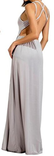 Swing Pleated Cut Casual Womens Gray Dress Out Slit Mesh Backless Cromoncent PnSwpq0RxP
