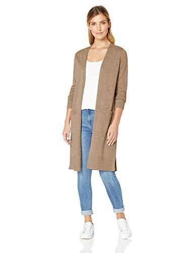 Amazon Essentials Women's Lightweight Longer Length Cardigan Sweater, Camel Heather, X-Large