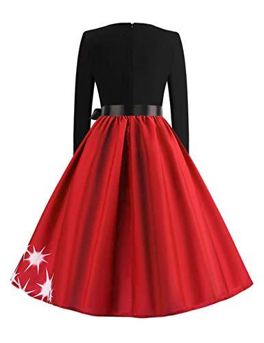 Fille Rouge Or Femme Feelingirl Imprime Noel Robes Rétro Bustier Robe De xI8IHqYw
