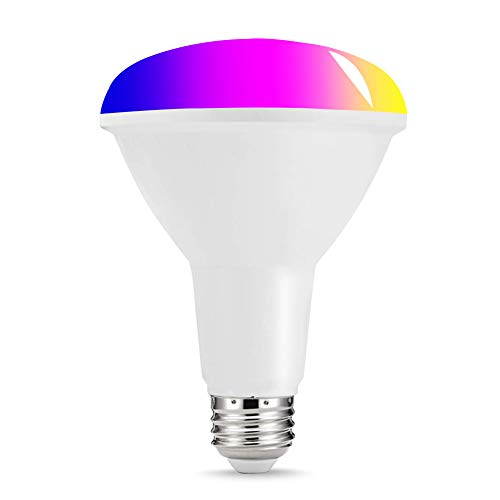 Smart Led Light Bulb BR30,Multicolor RGBW LED Flood Light No Hub Required,10W E26 100W Equivalent,WiFi Light Bulbs 2700K to 6500K Dimmable,Compatible with Alexa,Siri,Google Home,Tuya Smart 1pack ()