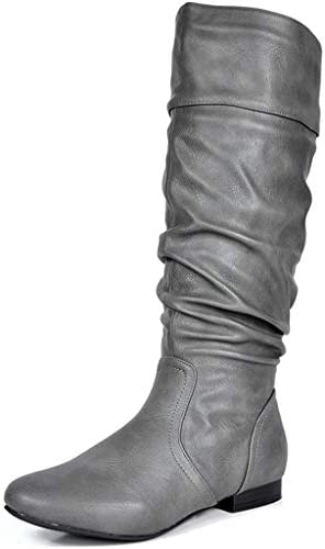 Wide-Calf Available DREAM PAIRS Women Low Heel Zipper Knee High Riding Boots US