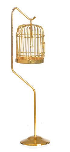 (Melody Jane Dollhouse Miniature Brass Birdcage with Stand)