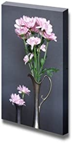 Two Ancient Vases with Nice Pink Flowers on Dark Background Wall Decor