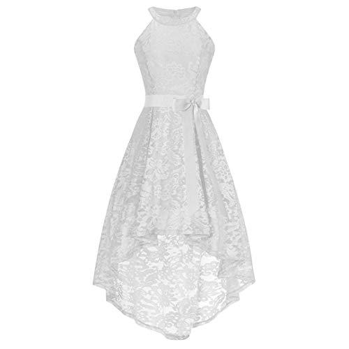 YUAFOAE Vestidos De Fiesta Mujer Cortos Elegantes,Sin Mangas O-Cuello Dobladillo Hem Irregular Verano Suelto Cómodo De Encaje Faldas con Vuelo Blanco