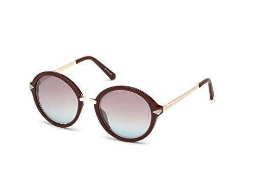 Swarovski Women's Sk0153 SK0153 Round Sunglasses, Bordeaux, 52 mm