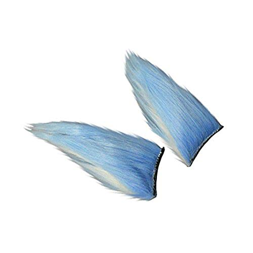 Marrol Fox Yip Neko Cat Furry Ears Hair Clips Halloween Cosplay Prop (Blue) ()