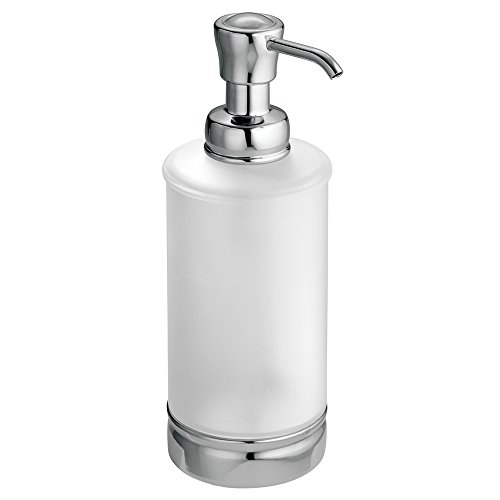 InterDesign York Liquid Soap & Lotion Dispenser Pump for Kitchen or Bathroom Countertops, Frosted Clear/Chrome