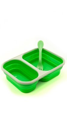 Eco Vessel Smashbox Collapsible Silicone Lunchbox - Double Compartment (Green)