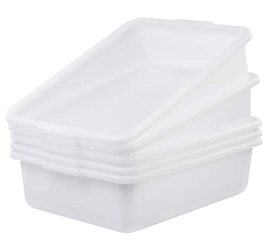5-Pack Commercial Bus Tubs Box/Tote Box, White Plastic Storage Bin with Handles/Wash Basin Tub (8 Liter)