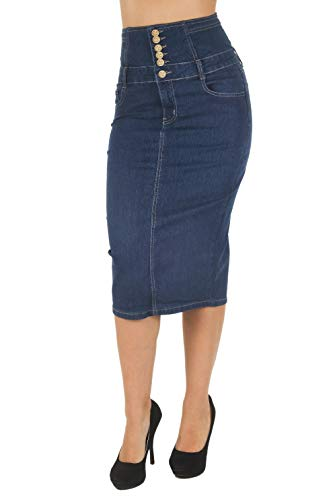 - Women's Juniors Below Knee Length Midi Pencil High Waist Denim Skirt in Blue Size L