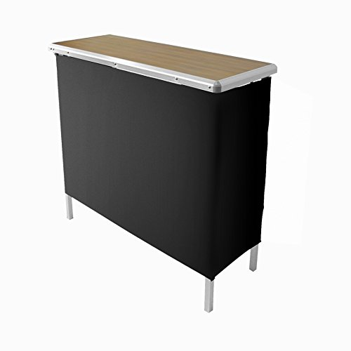 Sports Festival Portable High Top Party Bar Table, Includes 2 Front Skirts and Carrying Case (Wood Texture) - Portable Bar Case
