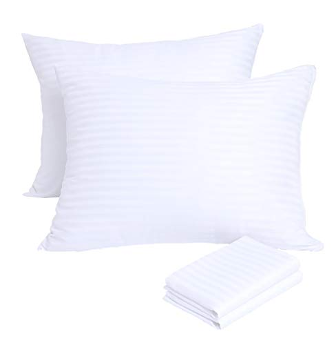 Pillowcases Protectors 4 Pack Standard 20x26 Inches Pillow Covers ❤️ Reduces Allergies ❤️White Protectors Premium excessive 200 300 Thread Count Cotton Sateen Set Zippered Hotel of quality Black Friday & Cyber Monday 2018