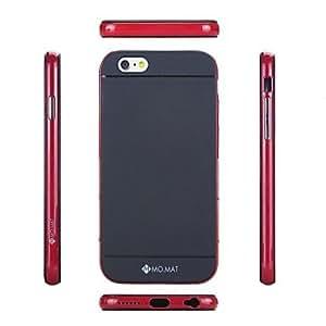 "PG MO.MAT Medo Plastic Bumper Frame + TPU Soft Back Cover Case for iPhone 6 Plus 5.5""(Black-Red)"