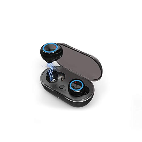 Bluetooth 5.0+EDR Hi-Fi Wireless Earbuds 3D Stereo Sports Headphone with Microphone and Rechargeable Storage case Left and Right Split binaural Waterproof iPhone/iPad/Android Compatible
