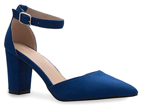 OLIVIA K Women's Sexy D'Orsay Ankle Strap Pointed Toe Block Heel Pump - Classic, Comfortable Royal Blue