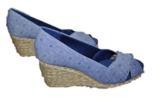 Chaps Womens Dakoda Blue Chambray Dot Espadrille Wedge Sandals Shoes (9) ()