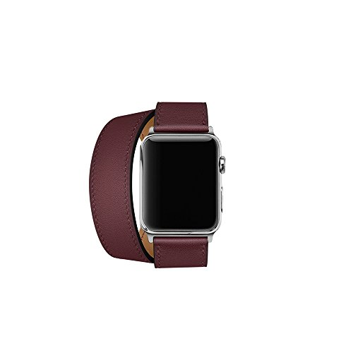 Price comparison product image CAILIN Band for Apple Watch Series 1 Series 2 Series 3,  Luxury Genuine Leather Smart Watch Band Strap Double Tour Replacement for 42mm Apple Watch 2015 & 2016&2017 All Models42mmWine red