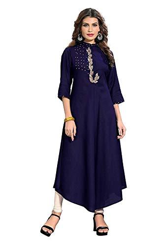ziya Multi Designer Cotton Women Printed Kurti for Women .ZF -96 Blue ()