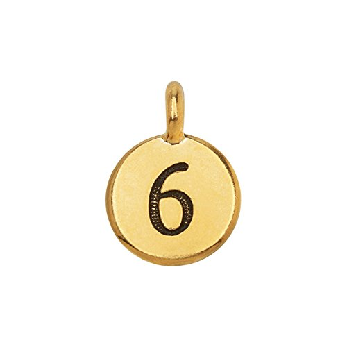 (TierraCast Pewter Number Charm, Round '6' 16.5x11.5mm, 1 Piece, Gold Plated)